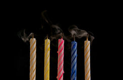 Color candles with smoke Royalty Free Stock Photography
