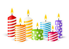 Color candles on white Royalty Free Stock Photos