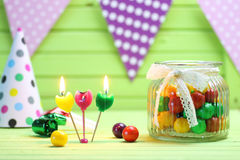 Color candy in glass jar Royalty Free Stock Photography