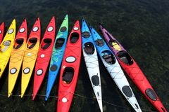 Color Canoes Royalty Free Stock Photos