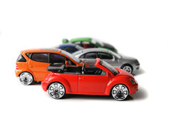 Color car toys. On the white background Royalty Free Stock Image