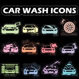 Color car wash icons stock illustration