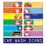 Color car wash icons Stock Photo