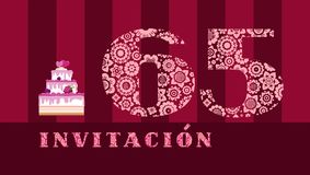 Invitation to the celebration, 65 years, berry cake, Spanish, vector stock images