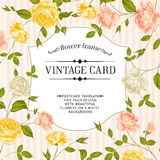 Color card with spring roses in vintage style. Stock Photos