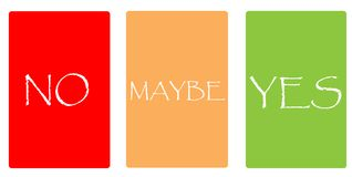 Color cards - NO, MAYBE, YES. Color cards with words on white background. NO, MAYBE, YES. Red, orange, green Stock Photos