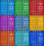 Color cargo containers Royalty Free Stock Images