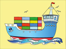 Color the cargo ship. Color marine cargo ship on a yellow background Royalty Free Stock Photos