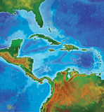 Color caribbean islands map Stock Images