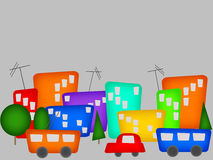 Color cartoon city Stock Image