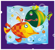 Color cartoon fish Royalty Free Stock Photography