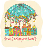 Color cartoon houses under umbrella Stock Photos