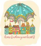 Color cartoon houses under umbrella Stock Photos