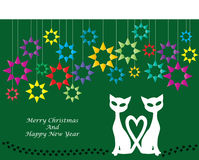 Color cartoon illustration of christmas cats Royalty Free Stock Photos