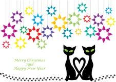 Color cartoon illustration of christmas cats vector illustration