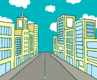 Color cartoon line city Stock Images