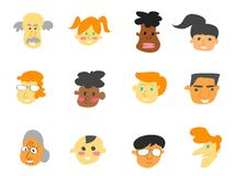 Color cartoon people face icons set. Isolated color cartoon people face icons set on white background Royalty Free Stock Photos