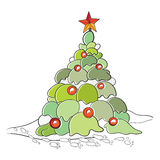 Color cartoon vector illustration of Christmas Stock Images