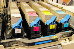 Color cartridges in the printer Royalty Free Stock Photos
