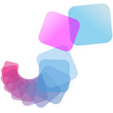 Color cascade abstract spiral background. Translucent, colors in a spiral cascade from pink to blue in this abstract background Royalty Free Stock Image