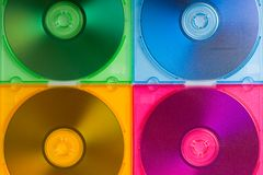Color cd boxes with discs Stock Photos