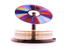 Color CD rom. Cd rom with colors of the rainbow on top of stack cd Royalty Free Stock Images