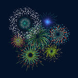 Color Celebration Fireworks Set. Vector. Color Celebration Fireworks Set on Dark Background for ad, invitation, presentation Card. Vector illustration Royalty Free Stock Image