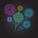 Color Celebration Fireworks. Vector Stock Photos