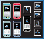Color Cell Phones. A nice set of colorful cell phones and icons Stock Photo