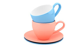 Color ceramic dishes and cups Royalty Free Stock Images