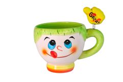 Color ceramic mug. With a hand on a spring Stock Images