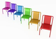Color Chairs. Chairs color objects group, horizontal, 3d illustration, over white Stock Images