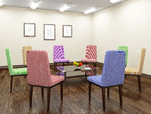 Color chairs for discussion Stock Photos