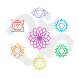 Color chakra icon set outline with om background Stock Images