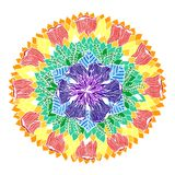 7 color of chakra mandala symbol concept, flower floral leaf, vector. 7 color of chakra mandala symbol concept vector, flower floral leaf, watercolor painting royalty free illustration