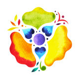 7 color of chakra mandala symbol concept, flower floral, watercolor painting. Hand drawn icon, illustration design sign stock illustration