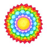 7 color of chakra mandala symbol icon concept flower floral pencil color. Hand drawing illustration design stock illustration