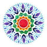 7 color of chakra sign symbol, colorful lotus flower icon, watercolor painting Royalty Free Stock Photos