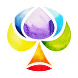 7 color of chakra symbol concept, flower floral tree, watercolor painting. Hand drawn icon logo, illustration design sign stock illustration