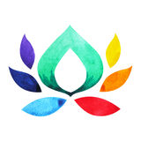 7 color of chakra symbol concept, flower floral, watercolor painting. Hand drawn icon logo, illustration design sign stock illustration