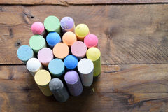 Color chalk for class room. Chalk education on wood Royalty Free Stock Photography