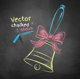 Color chalk drawn school bell Royalty Free Stock Photo
