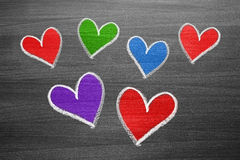 Color chalk heart shapes Stock Photo