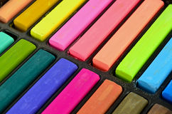 Color chalk pastels in the box Royalty Free Stock Photo