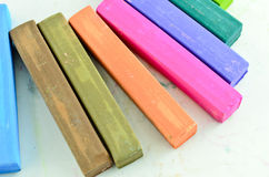 Color chalk pastels isolated Stock Images