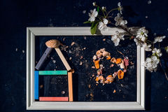 Color chalk pencils art and food. stock photos