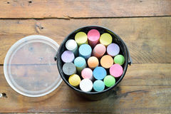 Color chalk  on wood. Multicolor chalk for draw Stock Photography