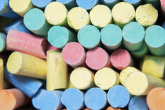 Color chalks. Bunch close-up top view Royalty Free Stock Photos