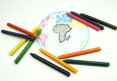 Color chalks and draw earth Royalty Free Stock Photos
