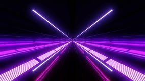 Color changing multi color light tunnel with red and blue lights and reflections royalty free illustration